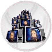Jesus On Tv Round Beach Towel