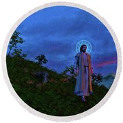 Round Beach Towel featuring the painting Jesus Walks To The Town by Dave Luebbert