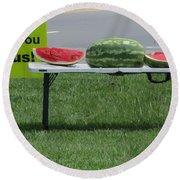Jesus Watermelon Round Beach Towel