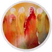 Jesus With His Apostles Round Beach Towel