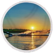 Jet Boat Wheelie  Round Beach Towel