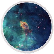 Round Beach Towel featuring the photograph Jet In Carina by Marco Oliveira