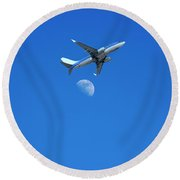 Jet Plane Flying Over The Moon Round Beach Towel
