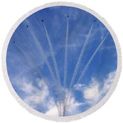 Jet Planes Formation In Sky Round Beach Towel