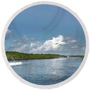 Round Beach Towel featuring the photograph Jet Skiing by Judy Hall-Folde