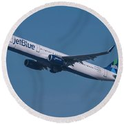 jetBlue Airbus A321 Round Beach Towel