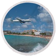 jetBlue at St. Maarten Round Beach Towel by David Gleeson