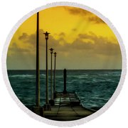 Jetty At Sunrise Round Beach Towel