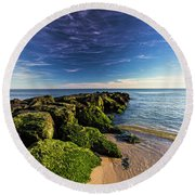 Jetty Four Mossy Rocks Round Beach Towel