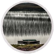 Jetty, Loch Na Maracha, Isle Of Harris Round Beach Towel