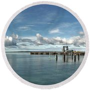 Round Beach Towel featuring the photograph Jetty To Shore by Stephen Mitchell