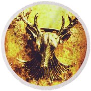 Jewel Deer Head Art Round Beach Towel