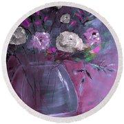 Jewel Tone Rose Arrangement Painting Round Beach Towel