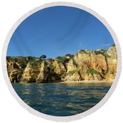 Jewel Toned Ocean Art - Sailing By Algarve Cliffs And Beaches  Round Beach Towel
