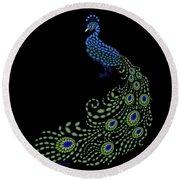 Jeweled Peacock Round Beach Towel