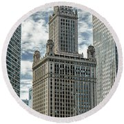 Round Beach Towel featuring the photograph Jewelers Building Chicago by Alan Toepfer