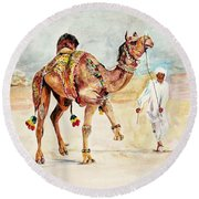 Jewellery And Trappings On Camel. Round Beach Towel
