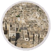 Jewish Cemetery On Mount Of Olives Round Beach Towel