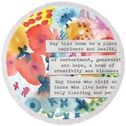 Jewish Home Blessing- Floral Watercolor Round Beach Towel