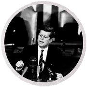 Jfk Announces Moon Landing Mission Round Beach Towel