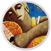 Round Beach Towel featuring the painting Jibara Y Sol by Oscar Ortiz