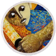 Round Beach Towel featuring the painting Jibaro Y Sol by Oscar Ortiz