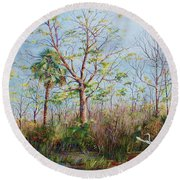 Round Beach Towel featuring the painting Jim Creek Lift Off by AnnaJo Vahle