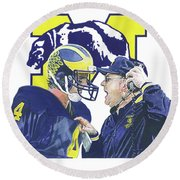 Jim Harbaugh And Bo Schembechler Round Beach Towel
