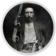 Jim Hawkins Texas Ranger  C. 1870 Round Beach Towel