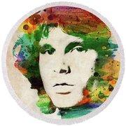 Jim Morrison Colorful Portrait Round Beach Towel