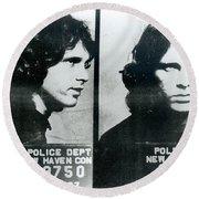 Jim Morrison Mug Shot Horizontal Round Beach Towel by Tony Rubino