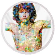 Jim Morrison The Doors Round Beach Towel