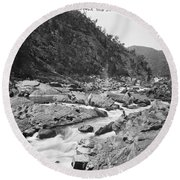 Jimenbuan Falls, Snowy River, Kerry And Co, Sydney, Australia, C. 1884-1917 Round Beach Towel