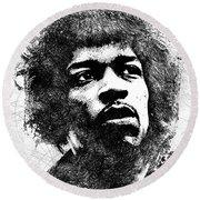 Jimi Hendrix Bw Portrait Round Beach Towel