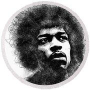 Jimi Hendrix Bw Scribbles Portrait Round Beach Towel