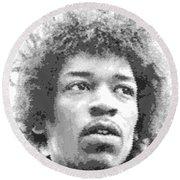 Jimi Hendrix - Cross Hatching Round Beach Towel