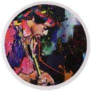 Jimi Hendrix II Round Beach Towel by Richard Day