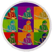 Jimi Hendrix In The Style Of Andy Warhol Round Beach Towel