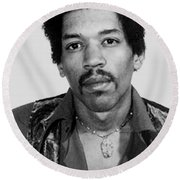 Jimi Hendrix Mug Shot Vertical Round Beach Towel