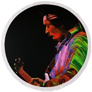 Jimi Hendrix 4 Round Beach Towel