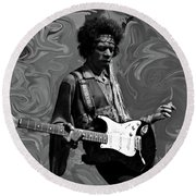Round Beach Towel featuring the photograph Jimi Hendrix Purple Haze B W by David Dehner