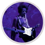 Round Beach Towel featuring the painting Jimi Hendrix Purple Haze P D P by David Dehner