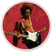 Round Beach Towel featuring the photograph Jimi Hendrix Purple Haze Red by David Dehner