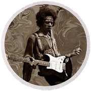 Round Beach Towel featuring the photograph Jimi Hendrix Purple Haze Sepia by David Dehner