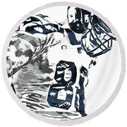 Jimmy Graham Seattle Seahawks Pixel Art 2 Round Beach Towel by Joe Hamilton