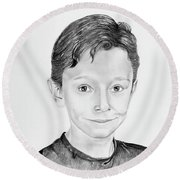 Round Beach Towel featuring the drawing Jimmy by Mayhem Mediums