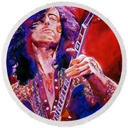 Jimmy Page Round Beach Towel by David Lloyd Glover