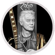 Jimmy Page Drawing Round Beach Towel