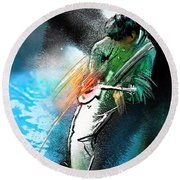 Jimmy Page Lost In Music Round Beach Towel by Miki De Goodaboom