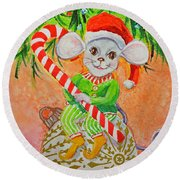 Jingle Mouse Round Beach Towel